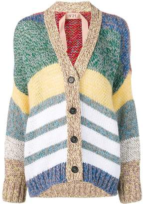 No.21 striped button cardigan