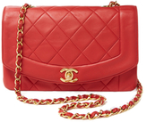 Chanel Red Quilted Lambskin Border Flap Small