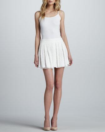 Alice + Olivia Box-Pleated Lace Skirt