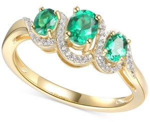 Macy's Emerald (1/2 ct. t.w.) & Diamond (1/10 ct. t.w.) Ring in 14k Gold-Plated Sterling Silver