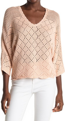 ALL IN FAVOR Pointelle V-Neck 3/4 Sleeve Sweater