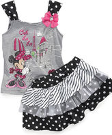 Nannette Baby Set, Baby Girls Minnie Mouse Tank Top and Scooter Skirt