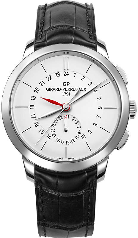 Girard Perregaux GIRARD-PERREGAUX 49544-11-132-BB60 1966 dual time stainless steel and leather watch