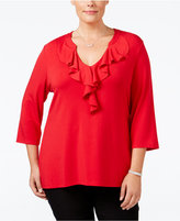 Charter Club Plus Size Ruffled V-Neck Top, Only at Macy's