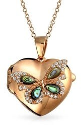 Bling Jewelry Abalone CZ Butterfly Heart Pendant Necklace Locket Rose Gold Plated