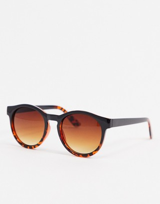 A. J. Morgan AJ Morgan round sunglasses in black with tortoise shell