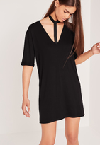 Missguided Wide Harness Neck Oversized Dress Black
