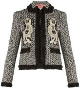 Gucci Spaniel-appliqué ruffle-trimmed tweed jacket