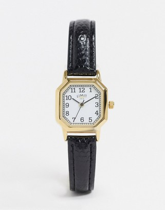 Limit octagonal faux leather watch in black