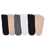 Angelina Black & Nude Cotton Nonslip Heel No-Show Six-Pair Toe Socks Set