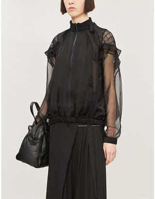 Sacai Long-sleeved zip-down chiffon shirt