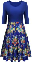 Meaneor Women 50s 60s Vintage Swing Dress Retro Floral Printed Ball Gown Dress (/L)
