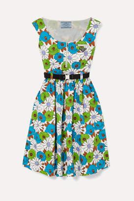 Prada Belted Floral-print Cotton-poplin Dress - Blue