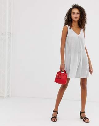 Asos Design DESIGN sleeveless plisse mini v-neck swing dress in mono spot-Multi