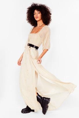 Nasty Gal Womens Star Print Metallic Maxi Dress - Cream