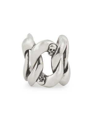 Alexander McQueen Skull-embellished Silver-tone Chain Ring