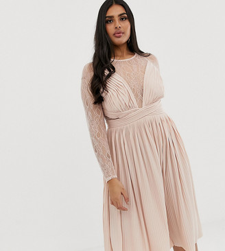 Asos DESIGN Curve lace and pleat midi dress