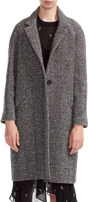 Maje Gedeon Oversize Herringbone Wool, Silk & Cotton Blend Coat
