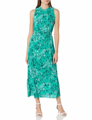 Taylor Dresses Women's Printed Pleated Knit Midi Dress