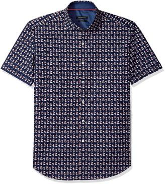 Bugatchi Men's Tailored Fit Navy Printed Nautical Short Sleeve Shirt M