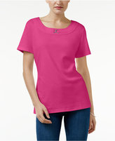 Karen Scott Buckle-Trim T-Shirt, Created for Macy's