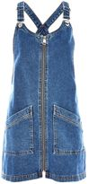 Topshop MOTO Zip Front Denim Pinafore Dress