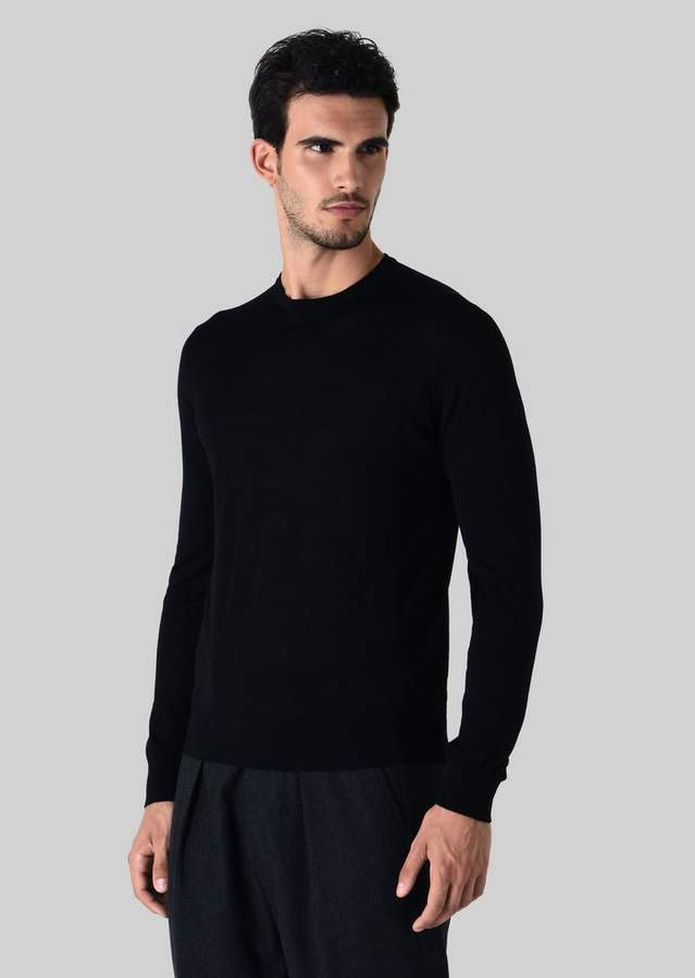 Giorgio Armani Crew-Neck Jumper In Pure Virgin Wool