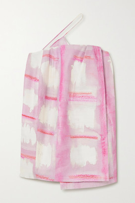 Jacquemus Asymmetric Printed Wrap-effect Woven Mini Dress - Pink