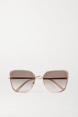 Prada Square-frame Gold-tone, Acetate And Enamel Sunglasses - Pink