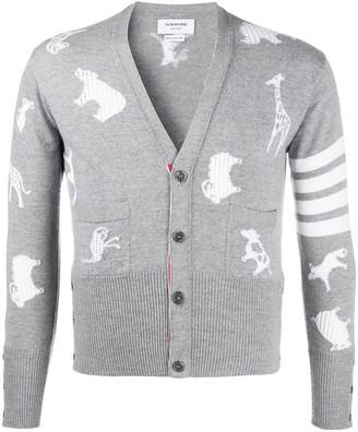 Thom Browne Multi-Animal jacquard-woven cardigan