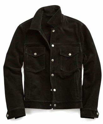 Todd Snyder Italian Suede Snap Dylan Jacket in Black