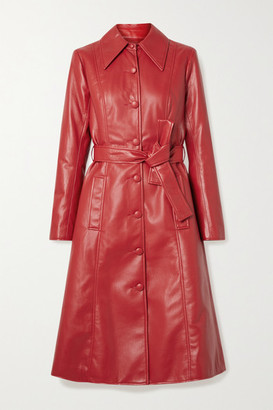 Les Rêveries Faux Leather Trench Coat - Red