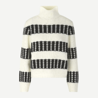 Samsoe & Samsoe SamsoeSamsoe Mona black and white turtleneck sweater - XXS | wool | white | Black / Black - White/White