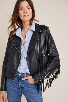 Blank NYC Fringed Faux Leather Moto Jacket By BLANKNYC in Black Size XS