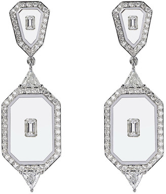 Nikos Koulis Universe Line 18k White Gold Mixed-Diamond Earrings