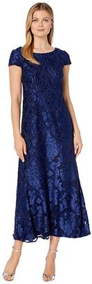 Alex Evenings Long Burnout Velvet A-Line Dress (Bright Navy) Women's Dress