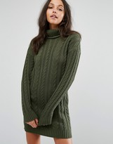 Missguided Roll Neck Cable Knit Mini Dress