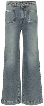 ALEXACHUNG Mid-rise wide-leg jeans