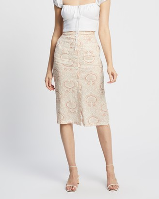 Staple the Label - Women's Brown Midi Skirts - Paisley Skirt - Size 8 at The Iconic