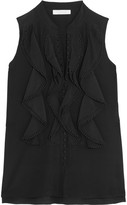 Chloé Ruffled Silk Crepe De Chine Top - Black