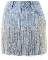 Topshop Moto dazzle fringe denim skirt