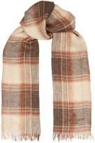 Corneliani Linen Check Scarf, Brown, One Size