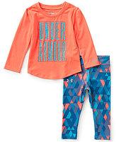 Under Armour Baby Girls 12-24 Months Logo-Detailed Long-Sleeve Tee & Geometric-Printed Pant Set