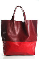 Alice D Red Two Tone Leather Large Tote Handbag