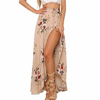 changchang Women Fashion Y2K Dress Long Beach Cover Up Crochet Overalls Floral Printed Skirt (Pink XL)