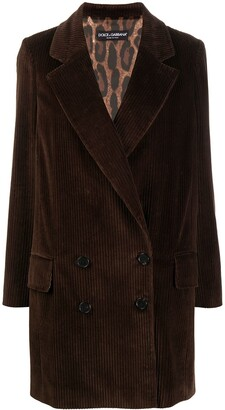 Dolce & Gabbana Long Corduroy Double-Breasted Blazer