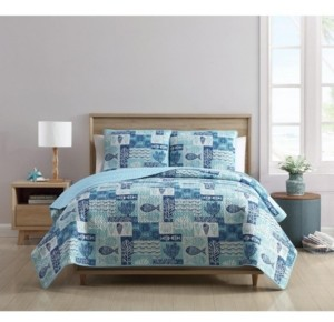 VCNY Home Patchwork Sea Life Reversible 3-Pc. Full/Queen Quilt Set