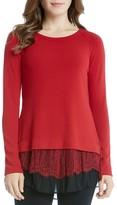 Karen Kane Lace Hem Sweater