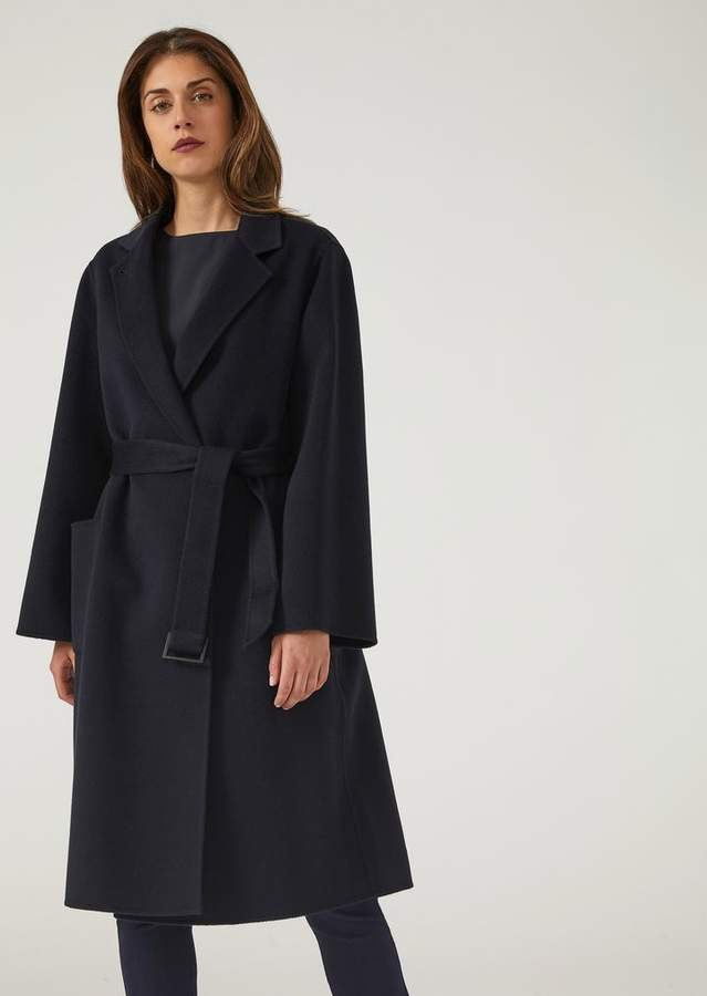 Emporio Armani Pure Cashmere Coat With Removable Belt And Lapel Collar