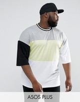 Asos PLUS Oversized T-Shirt With Neon Color Blocking & Mis-Match Sleeves